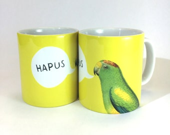 New Hapus  Welsh Happy Yellow Parrot Ceramic Mug 11oz