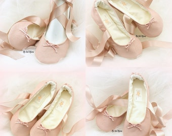 Girl Ballet Flats, Blush, Rose, Ballet Slippers, Leather Flats, Confirmation Shoes, Flower Girl Flats, First Communion, Prom, Bat Mitzvah
