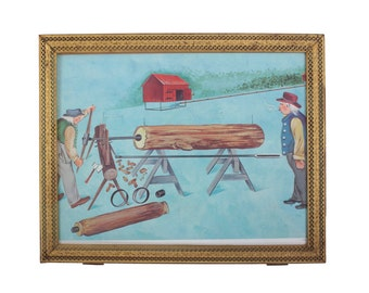 How Water Pipe is Made Out of Logs Print in a Frame - Wood Water Piping