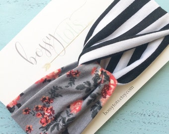 Floral and Stripe Twisted Turban Headband