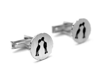 CAPIVARA kissing couple sterling silver his & hers cufflinks cave art