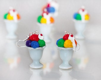 Ice Cream Earrings - Rainbow Ice cream Earrings - Rainbow Colors earrings - Miniature Food Earrings - Ice Cream Dangles -  Food jewelry