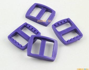 100 Pieces 15mm Purple Plastic Tri-Glide Slider Adjustable Buckle for Bag Backpack Strap (RBCNO79)
