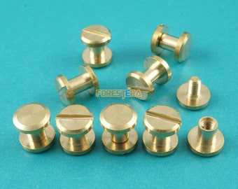 8*5mm Solid Brass Rivet Chicago Screw for Leather Craft Belt Wallet / Flat Head (FB8X5)