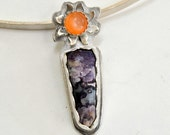 Sterling silver pendant with purple tiffany stone and peach moonstone