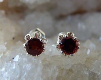 Garnet Earrings, Stud Earrings, January Birthstone, Buttercup Stud Earrings, Red Earrings, Sterling Silver Garnet Earrings, Garnets