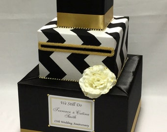 Black and White Chevron Wedding Card Box/Gold Accents