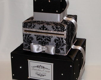 Black and Silver (Gray)  Damask Card Box-Rhinestone accents