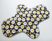 12 inch cloth pad - cloth menstrual pad - mama pad - mama cloth - plus size pad - heavy flow pad - black daisies flannel top - ready to ship