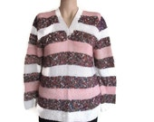 Vintage Sweater Striped Sweater Pink Sweater White Sweater Pullover Sweater Chunky Sweater Old Sweater Knit Sweater V Neck Sweater Ladies