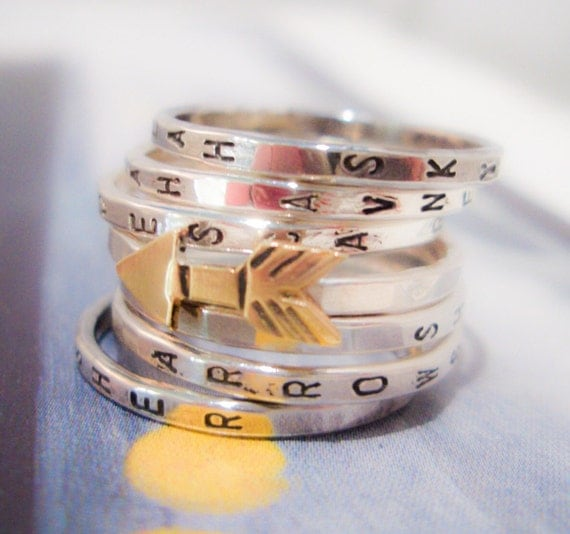 Golden Arrow Seven Ring Set:  Personalized Sterling Silver Stacking Rings
