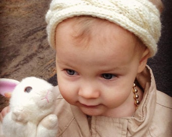 Toddler Cabled Knit Wool Headband