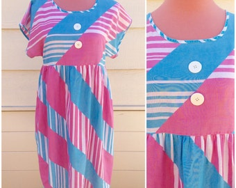 Summer hot pink and blue cotton baby doll 80s dress size XL