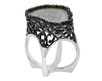 Unique Black Diamond Halo Geode crisscross ring in 14k white gold and black plated gold  | ready to ship!
