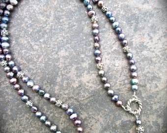 "Extra long Peacock Pearl necklace Rosary style necklace 29 1/2"" or 36"""