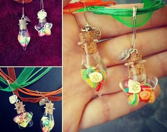 Charm Necklace Fruit Bubble Jar by Lemonia Jewelry
