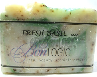 FRESH BASIL Scented Handcrafted Soap made with Olive Oil, by Bon Logic