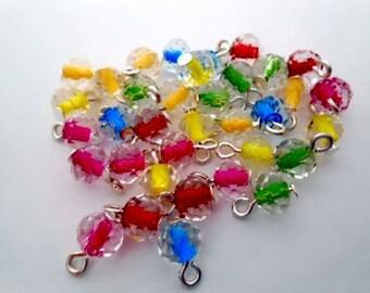 Center Colored Rondelle Dangle Beads