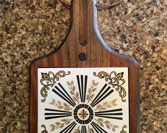 1970's Wood & Ceramic Cheese Tray
