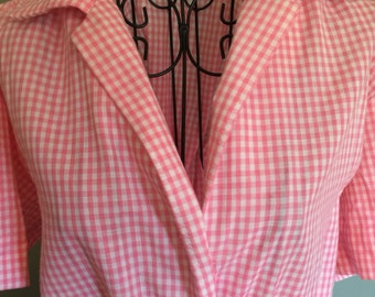 1950's pink gingham Day Dress, size M/L