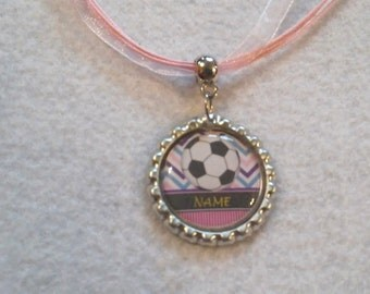 10 Soccer Necklaces Party Favors. Editable Name and Color