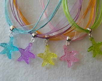 10 Sea Star Necklaces Party Favors.