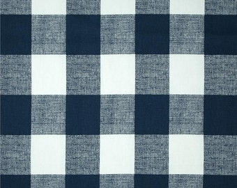 Premier Navy Blue Buffalo Check Curtains. Pair of 2 Drapery Panels. Gingham. Bedroom Window Treatments.