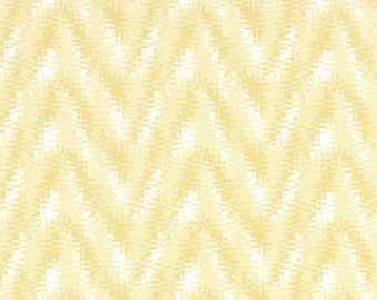 1 Yard Saffron Yellow Rhodes Fabric - Premier Prints- Pale Yellow and White Zigzag Chevron - Fabric by the Yard