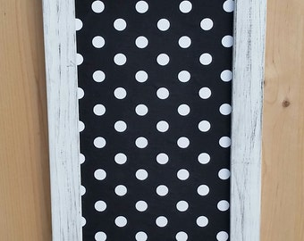 magnet board, black with white, polka-dot fabric, fabric magnet board 19x11
