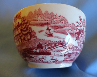 "Vintage ""Royal Staffordshire"" Miniature Bowl or custard, Pink on whhite transfer pattern with  scenes called ""Tonquin"", ""Made In England"""