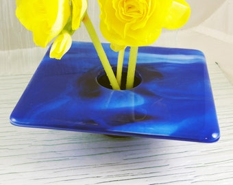 Flower Vase, Fused Glass Ikebana Vase, Blue Bud Vase, Flower Holder with Pin Frog, Table Vase, Gifts Under 75 Dollars for Him or Her