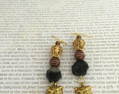 Bengal Tiger Earrings - Made With Smoky Quartz Gemstone Crystals In Gold and Copper Great For Big Cat Lovers!