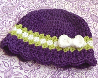 Baby Girl Hat, Purple Crochet Infant Cap with Bow, Size 3 to 6 Months