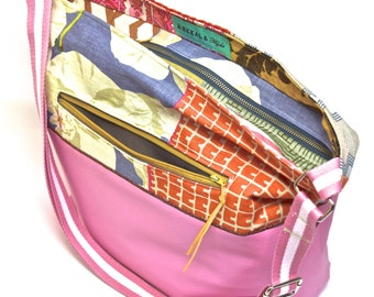 Diaper Bag - Gym Bag - Bubblegum Pink Vegan Leather with Linen and Velvet