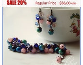 SALE 20%!!! Bracelet and Earrings - beautiful gemstone yewelry set. Deep Pink Agate, Multicolor Blue Kunzite, Pink and Blue Crystals