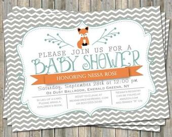 Chevron fox baby shower invitation, orange and turquoise, small chevrons, digital, printable file