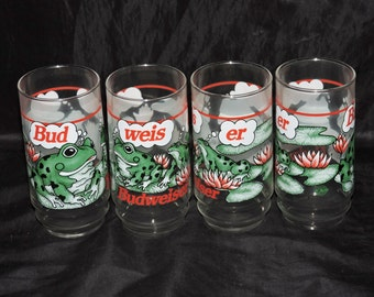 Lot 4 Vintage Budweiser Frogs Beer Drinking Glasses Bud Weis Er 1995 Official Indiana Glass