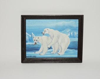 Vintage 80s Alaska Kitch Art Oil Painting Polar Bear Mating Ice Ice Burg Buster Original Art