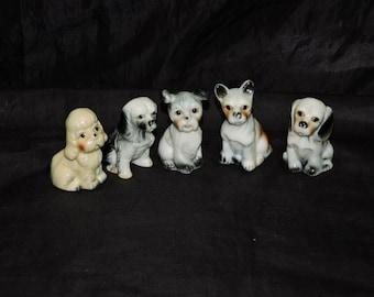 Lot 5 Vintage Ceramic Dog Figruines Terrier Puppy Dogs White Black Brown Happy Sitting Begging