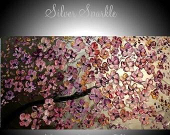 "SALE XL Original Modern 48"" palette knife signature floral impasto oil painting Metallics,Silvers,Greys,plum, by Nicolette Vaughan Horner"