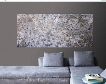 Sale XLarge Abstract painting,Original comtemporary Art,Shades of taupes,grays,lots of texture Ready to hang  by Nicolette Vaughan Horner 48