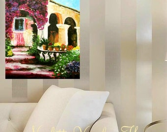 Oil Landscape  painting Abstract Original Modern Spanish Villa  painting by Nicolette Vaughan Horner
