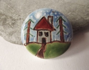Ceramic Pottery Woodland Cottage Brooch Pin, Ceramic House, Ceramic Jewelry, Woodland Jewellery, Witch's Cottage Brooch Pin, Moonlight