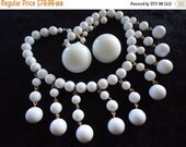 Christmas In July Sale Vintage White Glass Beaded Bib Necklace & Collectible Earrings Retro Rockabilly Glam Jewelry