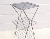 Mid Century Atomic Wire Smoking Telephone Stand Table V Legs - 3 Shelf MCM - Black shelf Plant Holder 3 shelf