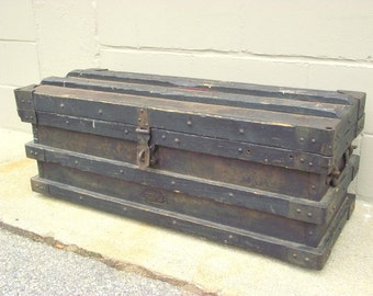 Vanderman Strong Box Railroad Train Safe Stagecoach Wagon Steam Engine Trunk - Antique Iron All Original - Railway History - Display storage