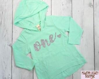 Birthday shirt, Glitter Number Birthday Shirt, First Birthday Shirt, Girls Birthday Hoodie, Silver Glitter Writing, 1st Birthday