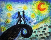Jack and sally nightmare before christmas, zero, painting, van gogh starry night, home decor, wall art, painting, jack sally tattoo, poster