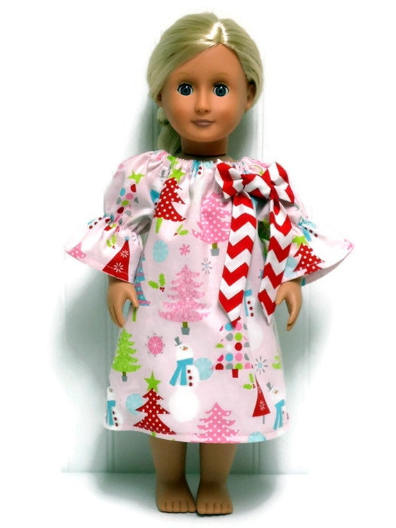 18 inch doll clothes christmas peasant dress pink snowman red chevron