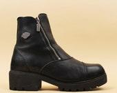 2nd Payment Layaway/ 90s Vtg Leather HARLEY Davidson Ankle Boot/ Biker DOUBLE ZiPPER Chunky Tread Platform Heel Grunge Punk Goth 11 Eu 42 43